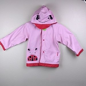Girls large pink lady bug rain coat jacket w/ hood